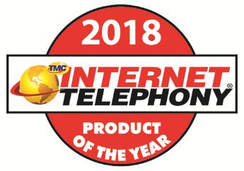 2018 INTERNET TELEPHONY Hosted Product of the Year Badge